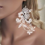 Earrings made of lace fabric