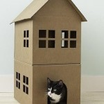 Cat's two-storey house from a cardboard box