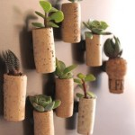 Mini garden of corks on the refrigerator