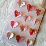 Valentine's Day card with multicolored 3D hearts