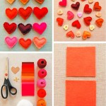 Do-it-yourself decorating for Valentine's day. Colorful fleece hearts