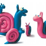 Multi-colored snail from plasticine