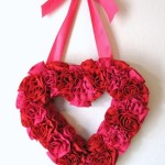 A wreath of roses from a red fabric