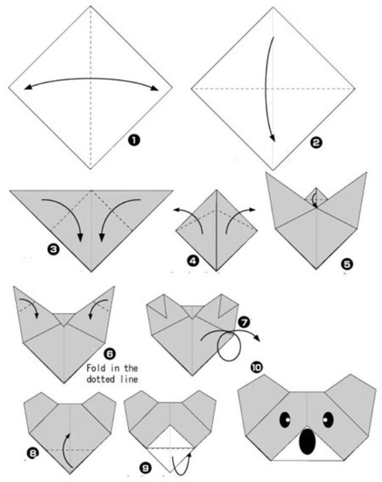 Схема поделки оригами из бумаги