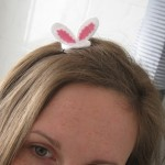 Easter Hairpin with bunny ears.