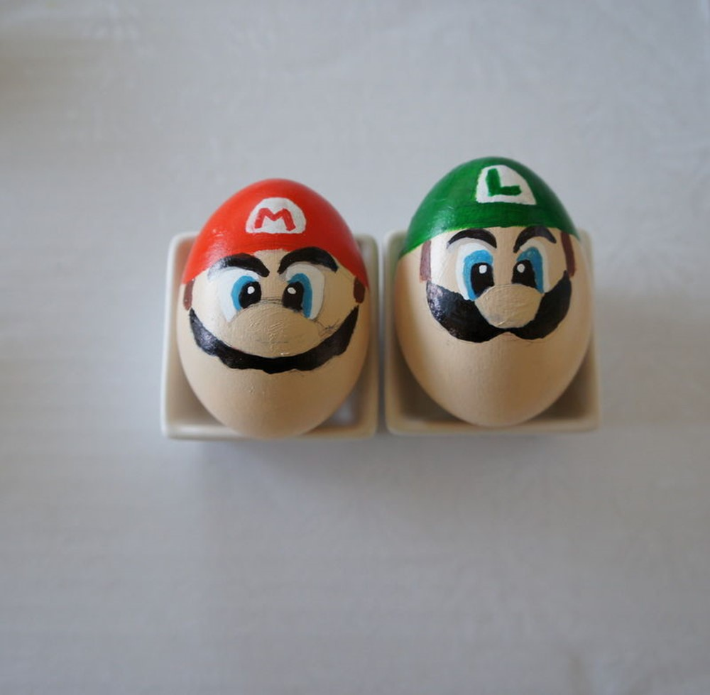 Egg Character Design Ideas : Coloring easter eggs in the style of super mario diy is fun