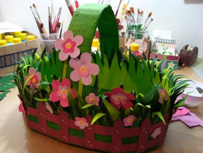 To Implement These Easter Basket Ideas For Babies We Need Cardboard From Old Boxes Colored Paper Cloth Glue Fabric Optional A Ruler And Scissors