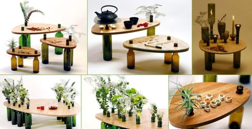 6. Homemade Coffee Tables Made Of Glass Bottles And Wood