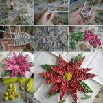 Simple handmade paper crafts: how to make Poinsettia