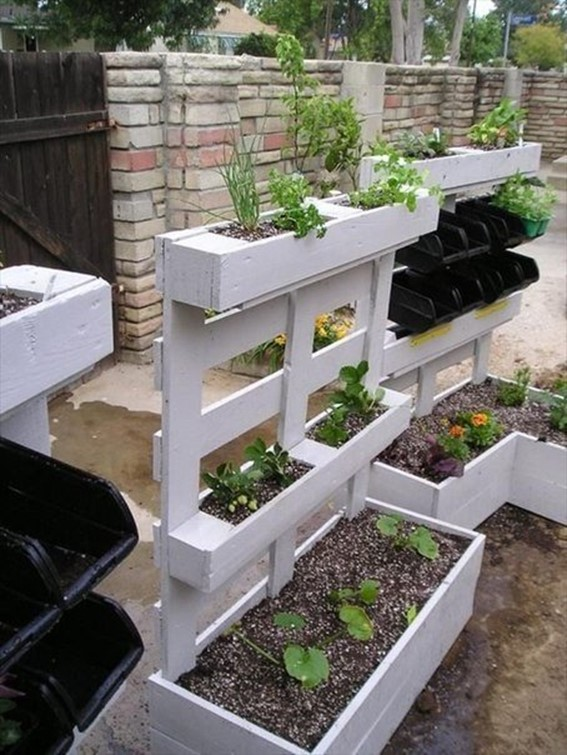 for example you can turn a wooden pallet in a bed for flowers or pot for growing plants in addition you can build warehouse for firewood or make a - Garden Ideas Using Pallets