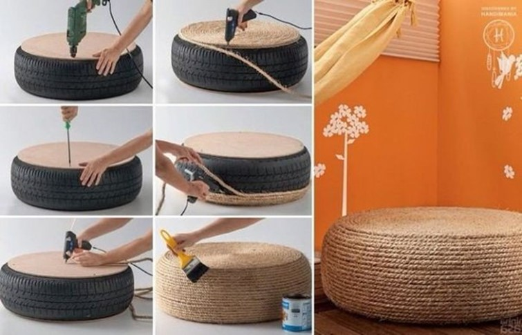What good can be made of old car tires diy ideas diy is fun handmade ottoman solutioingenieria Gallery