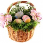 Thematic decoration for Easter using colored eggs