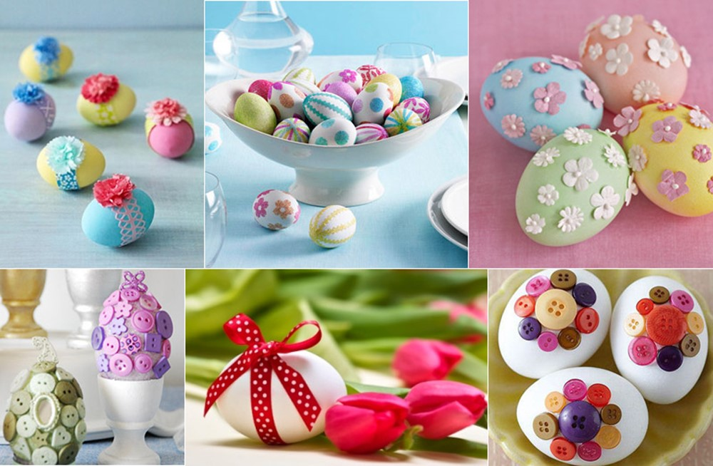 Eggs Decorated With Lace Bows Beads Paper Decorations Etc
