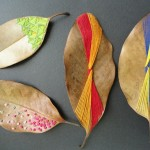 Crafts made from leaves or thread design embroidery