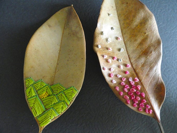Crafts made from leaves or thread design embroidery diy