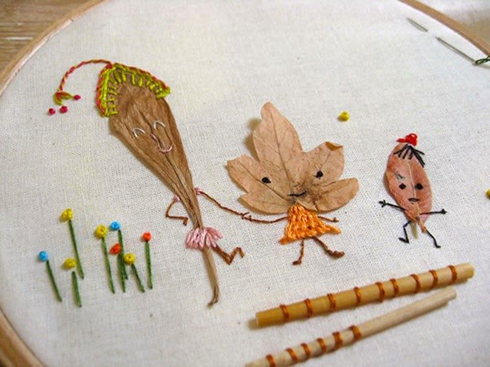 Crafts made from leaves or thread design embroidery – DIY is FUN