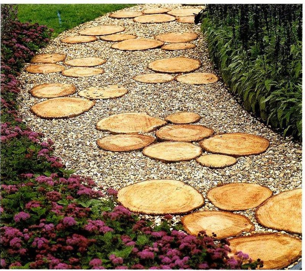 Garden Path From Wood Saw Cuts