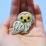 The Owl brooch from polymer clay: nice gift for mother's day this year