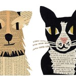 Simple and fun kids paper craft ideas: dogs and cats appliques from newspapers