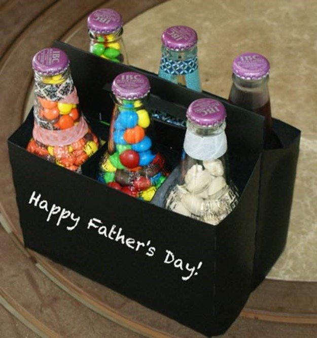 Simple And Fun Fathers Day Gifts Bottles With Sweets Diy Is Fun
