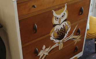 painting furniture - a dresser with owl