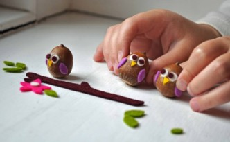 Simple arts and crafts for kids ideas: Owls from acorns