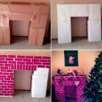 Christmas home decor: Falsch-fireplace made of cardboard