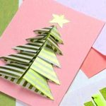 Card with a 3-d paper Christmas tree